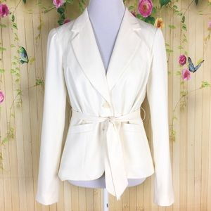 The Limited Ivory Blazer with Belt Size M
